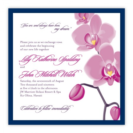 Tropical Orchid Square Clutch Wedding Invitations