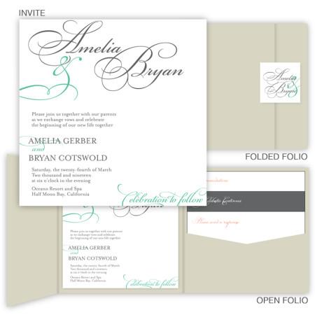 Bella Square Folio Pocket Wedding Invitations