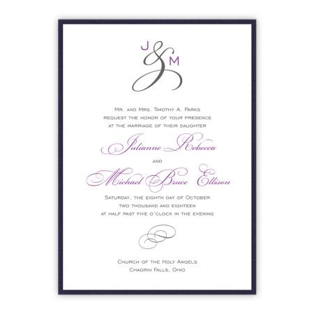 Monogram Clutch Pocket Wedding Invitations