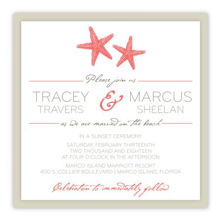 Starfish Square Clutch Wedding Invitations