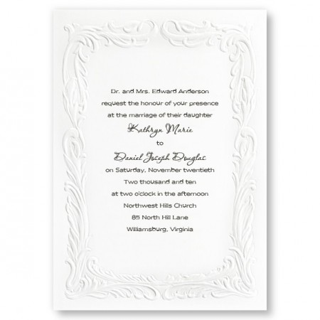 Embossed Splendor Wedding Invitations SAMPLE