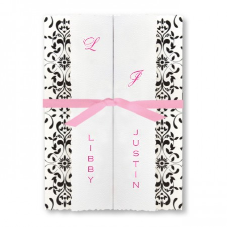 Black and White Folder with Pink Ribbon Wedding Invitations