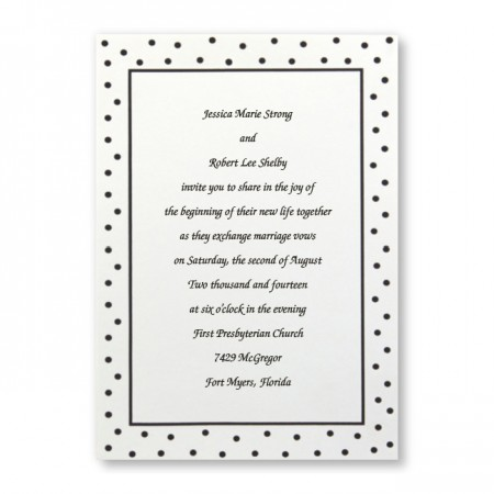 Black Flirty Dots Budget Wedding Invitations