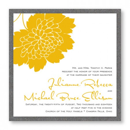 Bliss Square 2-Layer Floral Wedding Invitations