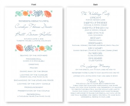 Blossoms Wedding Program