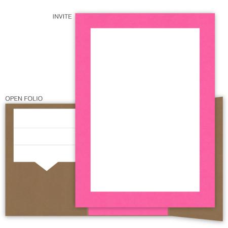 DIY 5 x 7 Gate Folio Pocket Wedding Invitations  - 2 Layers Large Border