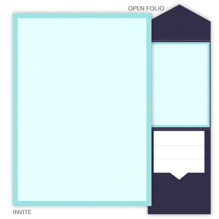 DIY 5 x 7 V-Flap Folio Pocket Wedding Invitations - 2 Layers Small Border
