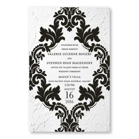 Camille White Damask Wedding Invitations