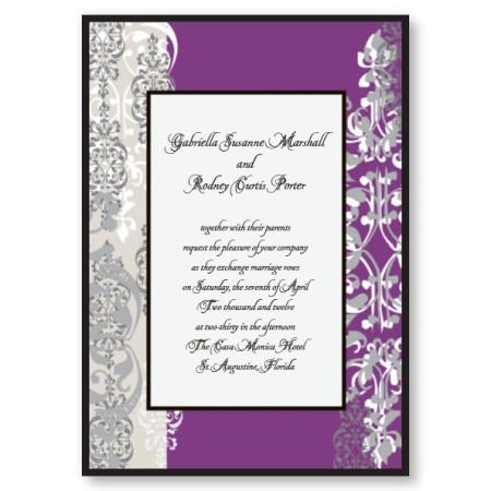 Cherish Purple Wedding Invitations