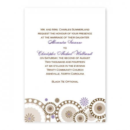 Circles and Flowers Purple Wedding Invitations