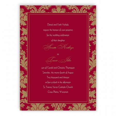 Clarissa Damask Thermography Wedding Invitations