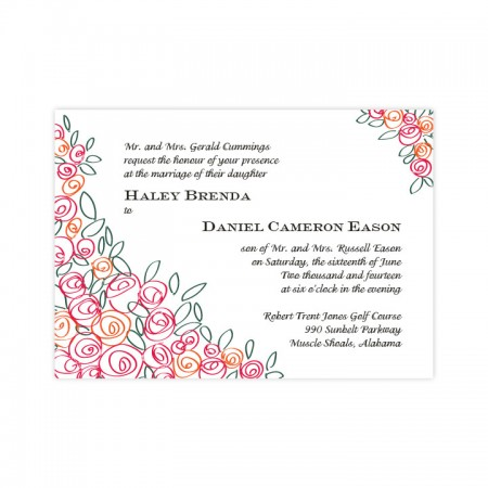 Colorful Flower Cluster Wedding Invitations