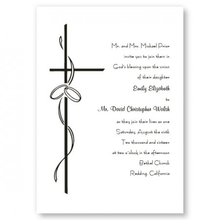 Contemporary Cross Religious Wedding Invitations