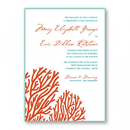 Coral 2-Layer Beach Wedding Invitations