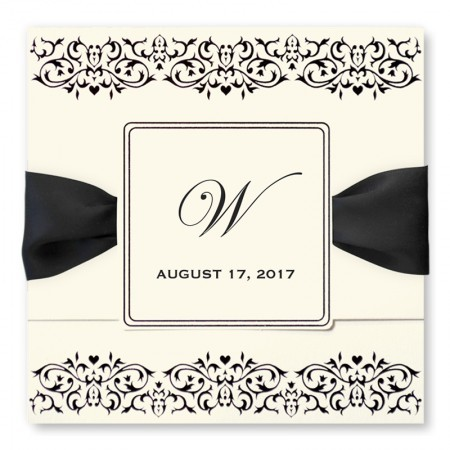 Damask Frame Monogram Wedding Invitations