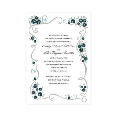 Dazzling Flower Vine Wedding Invitations