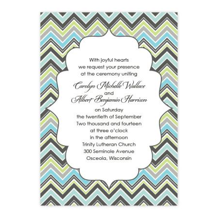 Distinctive Chevron Border Wedding Invitations