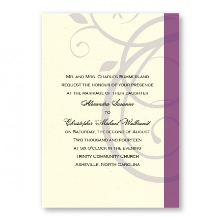 Elegant Swirl Wedding Invitations SAMPLE