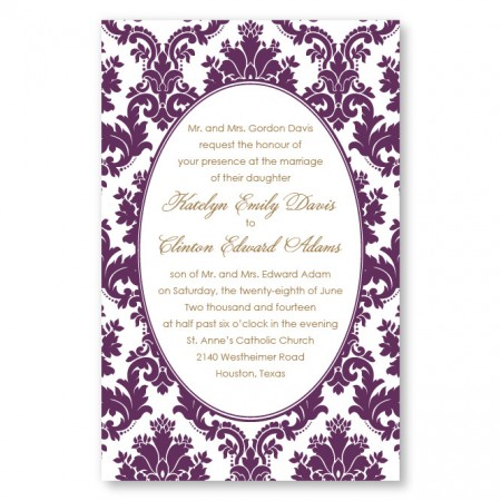Engagingly Damask Letterpress Wedding Invitations
