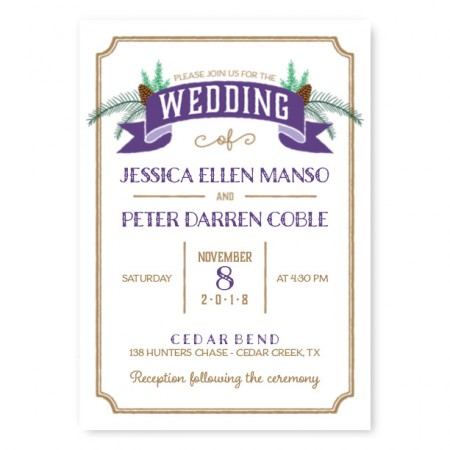 Evergreen Banner Nature Wedding Invitations