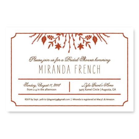 Fall Flora Bridal Shower Invitations