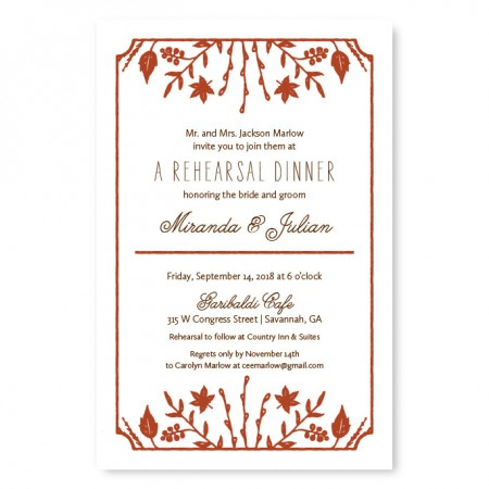 Fall Flora Rehearsal Dinner Invitations