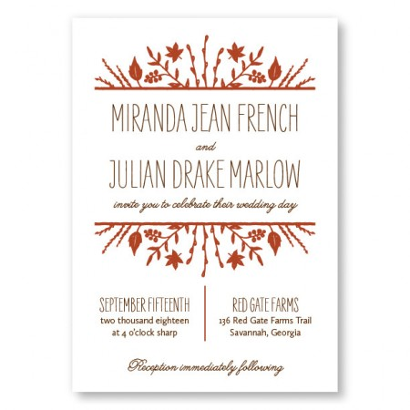 Fall Flora Wedding Invitations