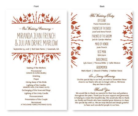 Fall Flora Wedding Program