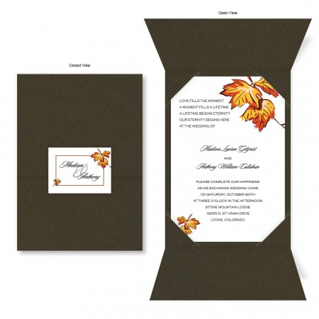 Falling Leaves Chocolate Brown Folio Wedding Invitations