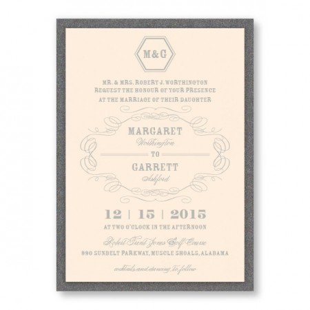 Fallon 2-Layer Thermography Monogram Wedding Invitations