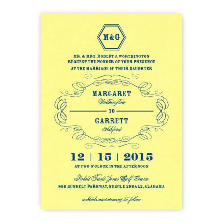 Fallon Thermography Monogram Wedding Invitations
