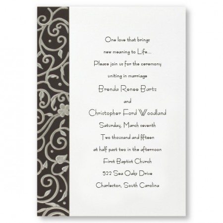 Filigree on Black Floral Wedding Invitations