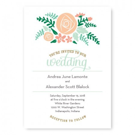 Floral Cluster Modern Wedding Invitations