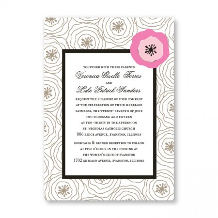 Floral Focus Pink Wedding Invitations