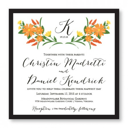 Floral Monogram Square 2-Layer Unique Wedding Invitations