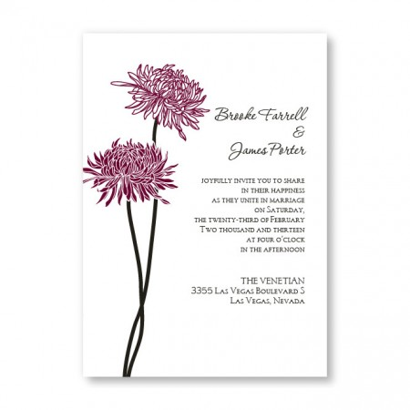 Floral Simplicity Wine Wedding Invitations