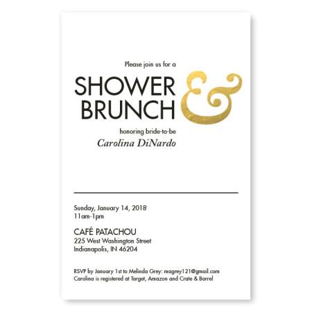 Gold Foil Ampersand Bridal Shower Invitations