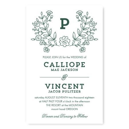 Garden Monogram Letterpress Wedding Invitations