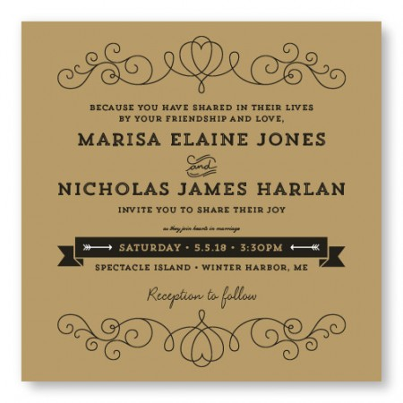 Heart Vintage Wedding Invitations