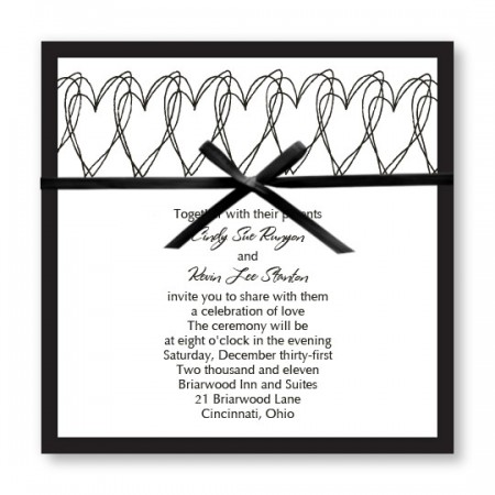 Hearts Aflutter Black and White Wedding Invitations