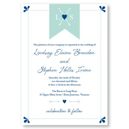 Hearts and Arrows Monogram Wedding Invitations