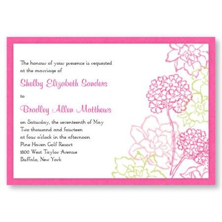 Pink Hydrangea Bloom II Floral Wedding Invitations