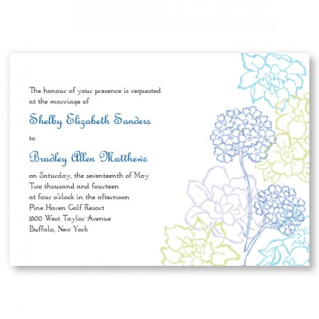 Hydrangea Bloom Blue Wedding Invitations