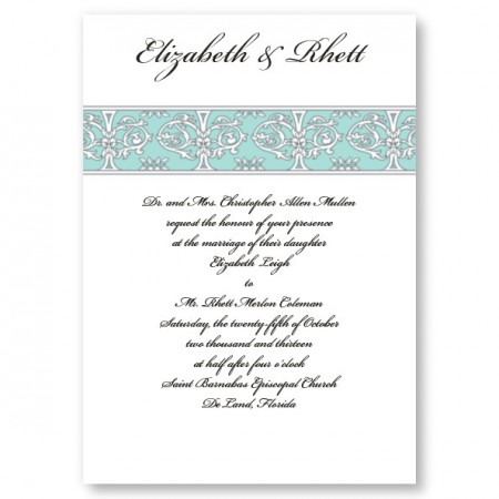 Imperial Wedding Aqua Invitations