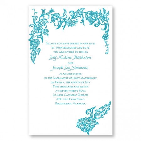 Intricate Florals Letterpress Wedding Invitations