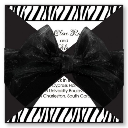 Jungle Print Zebra Wedding Invitations