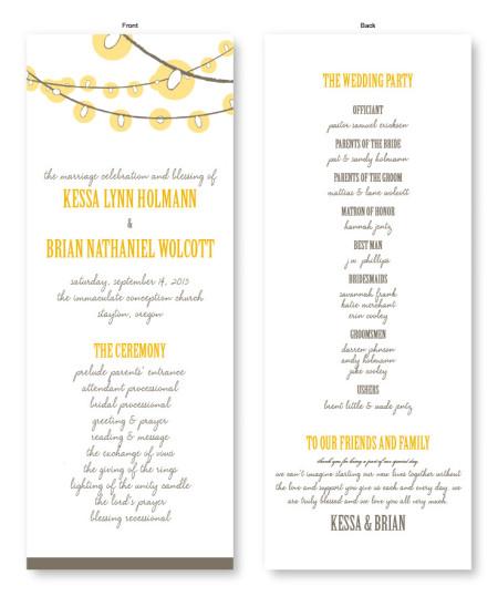 Luster Wedding Program