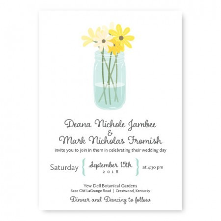 Mason Jar Floral Wedding Invitations