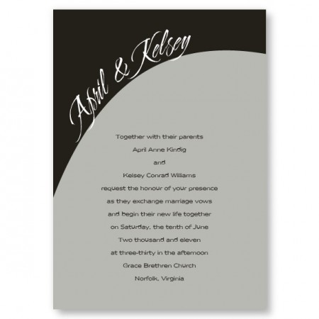 One Accord Black and Gray Wedding Invitations