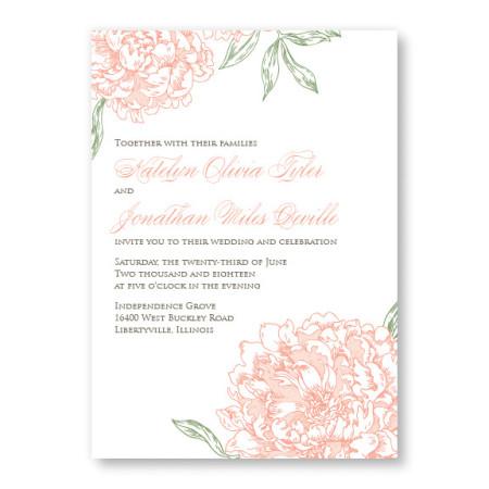 Peony Floral Wedding Invitations